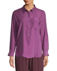 Eileen Fisher Classic-collar Silk Shirt - Purple
