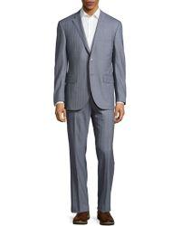 Corneliani - Striped Virgin Wool Suit - Lyst