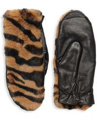 Saks Fifth Avenue Women's Tiger-print Faux Fur-trim Gloves - Brown Multi - Size S/m