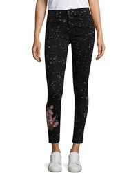 Joe's Jeans Embroidered Floral Ankle Jeans - Black