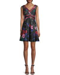 Guess Floral A-line Dress - Black