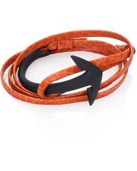 Miansai Brass & Leather Noir Anchor Cuff Bracelet - Multicolour