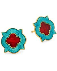 Legend Amrapali 18k Yellow Gold Mosaic Stud Earrings - Multicolor
