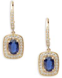 Effy Diamond, Sapphire & 14k Yellow Gold Drop Earrings - Metallic