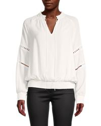 Tommy Hilfiger Women's Georgette Tie Neck Blouse - Ivory - Size L - White