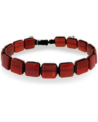 Jan Leslie Red Agate Square Pull Bracelet