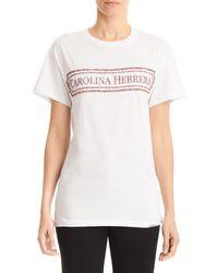 Carolina Herrera Women's Embroidered Logo Tee - White - Size L