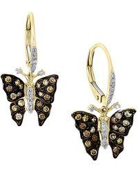 Effy 14k Yellow Gold, Black Rhodium Plated & Two-tone Diamond Butterfly Drop Earrings - Multicolour