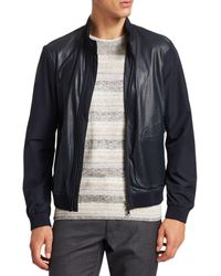 Saks Fifth Avenue Collection Perforated Mixed Media Leather Jacket - Blue