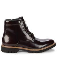 Saks Fifth Avenue Calvino Patent Leather Boots - Black