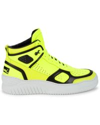 Buscemi Men's High-top Leather Trainers - Neon Yellow - Size 41 (8)