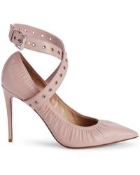 Valentino Love Latch Grommeted Leather Ankle-wrap Pumps - Brown