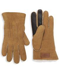 UGG Shearling-trim Leather & Suede Gloves - Black