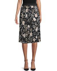 Calvin Klein Floral Pleated Skirt - Black