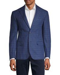Michael Kors Plaid Linen Blend Blazer - Blue