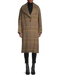 Proenza Schouler Oversized Wool Plaid Coat - Brown