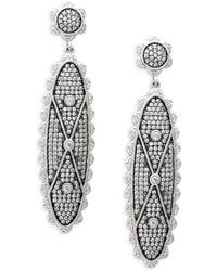 Freida Rothman - Sterling Silver & Crystal Signet Long Drop Earrings - Lyst