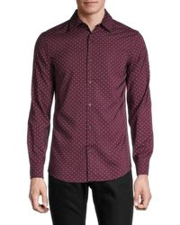 Perry Ellis Men's Regular-fit Pima Cotton Micro Dot Shirt - Winetasting - Size S - Purple