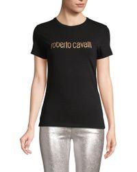 Roberto Cavalli Logo Graphic Stretch Tee - Black