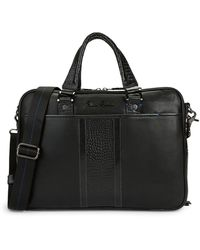 Robert Graham Keaton Croc-embossed Leather Briefcase - Brown