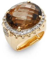 john hardy bamboo smoky quartz white sapphire u0026 18k yellow gold ring lyst