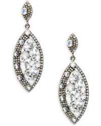 Bavna - Rainbow Moonstone, Champagne Diamond And Sterling Silver Drop Earrings - Lyst
