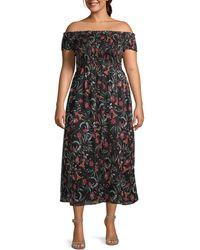 Cece Plus Floral Off-the-shoulder Midi Dress - Black