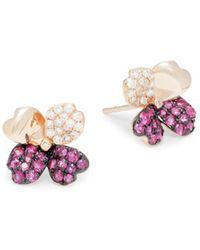 Effy 14k Rose Gold, Ruby & Diamond Flower Stud Earrings - Red