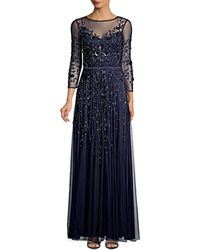 THEIA Embellished Tulle Gown - Blue