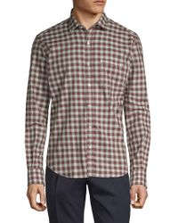 Culturata - Vintage Chequered Cotton Twill Dress Shirt - Lyst