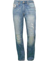Buffalo David Bitton Evan Distressed Straight Jeans - Blue
