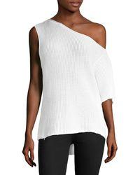 RTA Sloane Knit One-shoulder Pullover - White