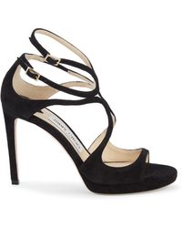 Jimmy Choo Lance Strappy Suede Stiletto Court Shoes - Black