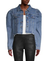 Lea & Viola Women's Puff-shoulder Cropped Denim Jacket - Denim - Size Xs - Blue