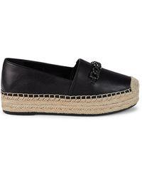 Karl Lagerfeld Women's Moxy Leather Platform Espadrilles - Black - Size 9.5