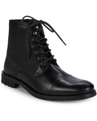 Kenneth Cole Reaction Round-toe Leather Ankle Boots - Black