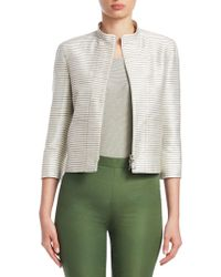 Akris Punto - Striped Silk Elbow-sleeve Jacket - Lyst