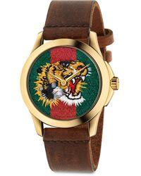 Gucci Le Marché Des Merveilles Tiger Yellow Goldtone Pvd & Leather Strap Watch - Multicolor