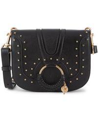 See By Chloé Women's Hana Star-studded Leather Saddle Bag - Black