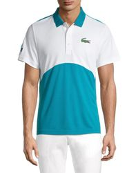 Lacoste Men's Ribbed Collar Colorblock Polo Shirt - Blue - Size 5 (l)