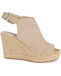 Kenneth Cole Women's Owen Suede Espadrille Wedge Slingback Sandals - Almond - Size 10 - Natural