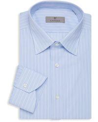 Canali Men's Modern-fit Striped Dress Shirt - Blue - Size 18 45