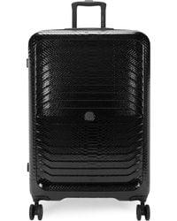 "Roberto Cavalli 31.5"" Snake-embossed Plated Case Spinner Suitcase - Black"