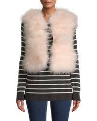 RED Valentino Women's Cropped Feather Vest - Nude - Size 40 (8) - Natural