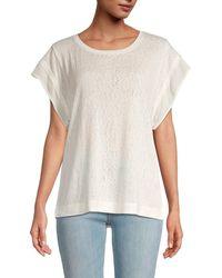 B Collection By Bobeau Madeline Slub-knit Top - White
