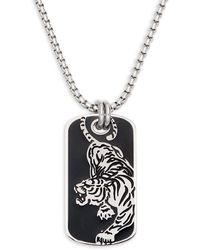 Saks Fifth Avenue Stainless Steel Panther Dog Tag Necklace - Multicolour