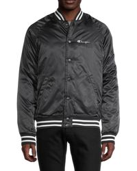 Champion Men's Snap-front Bomber Jacket - Black - Size S