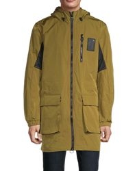 Champion Men's Long Hooded Cargo Jacket - Olive Khaki - Size Xl - Green