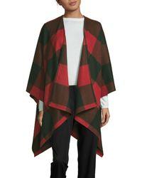 Saks Fifth Avenue Buffalo Plaid Wool Cape - Gray