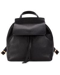 Santoni Greta Leather Flap Backpack - Black
